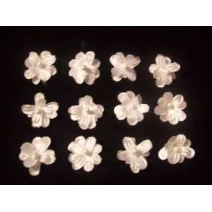 NEW 3/4 Smallest White Satin Flowers Set of 12, Limited