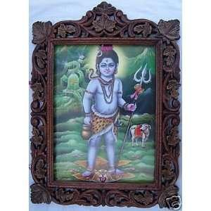 Lord Krishna like a small Shiva, Wood Craft Frame