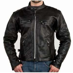 Leather motorcycle Jackets with Zip out Lining & Side Laces, Mens