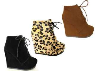 Womens Brown, Black, Leopard High Heel Lace Up Wedges UK Ladies Size 3