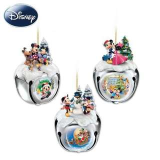 Disney Mickey And Minnie Mouse Christmas Sleigh Bells Ornaments Set