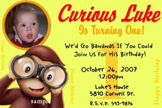 Custom CURIOUS GEORGE Birthday Party Invitations