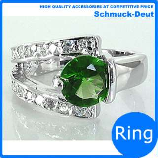 XMAS GIFT JEWELRY SALE ROUND GREEN EMERALD WHITE GOLD PLATED COCKTAIL