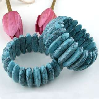 39x10mm Howlite Turquoise Bead Stretch Bracelet Bangle 7.5L