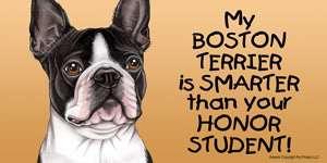 Boston Terrier Smarter Honor Student Car Magnet 8x4 dog