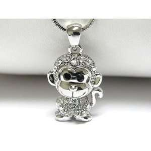 Funny 3d Baby Monkey Ice Crystal Charm Necklace Silver