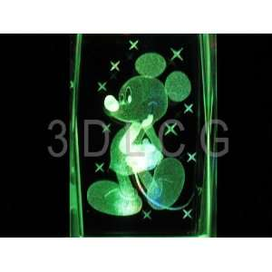 Disney Mickey Mouse Classic 3D Laser Etched Crystal S1