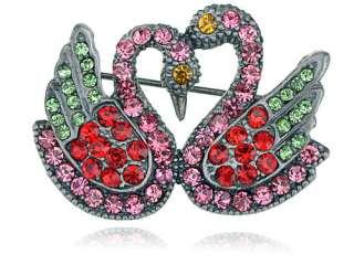 Antique Victorian Inspire Valentine Crystal Rhinestone Love Swan Pair