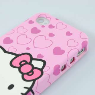 Super Cute Silicone Back Case Cover for iPhone 4 & 4S Pink 0391