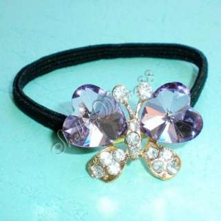Violet Crystal Butterfly Heart Hair Tie Ponytail Holder
