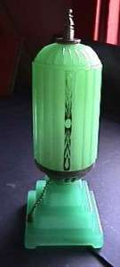 This unique and very desirable jadeite green glass deco boudoir lamp