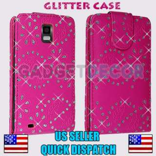 FOR SAMSUNG INFUSE 4G I997 PINK DIAMOND GLITTER LEATHER FLIP POUCH