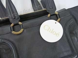 CHLOE Marcie Sac Black Leather Front Flap Satchel Shoulder Bag Handbag