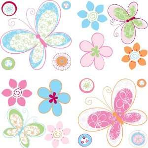 NewView S004 13 Butterflies and Flowers Wall Stickers