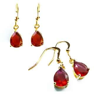 RED RUBY YELLOW GOLD GP EARINGS DANGLE DROP EARRINGS