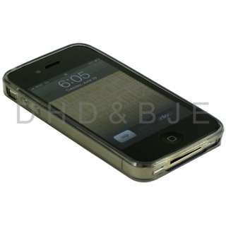 Gray TPU Skin Case Screen Protector for AT&T iphone 4