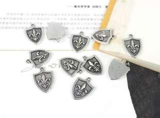 15pcs Tibetan Silver Fleur de lis Shield Charm