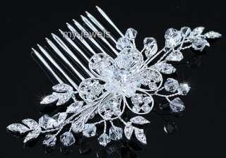 Bridal Wedding Handmade Flower Crystal Hair Comb T1375