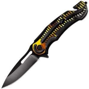 Open Folding Camping Knife Pocket Clip Cutter Breaker Yellow Stripes
