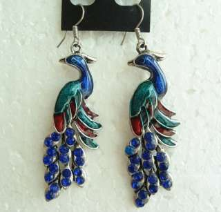 COLORS VINTAGE SWAROVSKI CRYSTAL DANGLE PEACOCK HOOK EARRINGS 1649