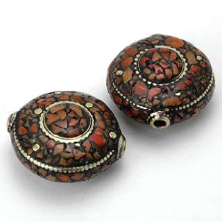 HIZE TBE17 CORAL INLAID BRASS TIBETAN 2 FOCAL COIN Beads 24mm