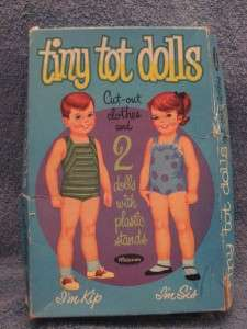 1960S VINTAGE TINY TOT DOLLS PAPER DOLLS CUT OUT CLOTHES AND 2 DOLLS