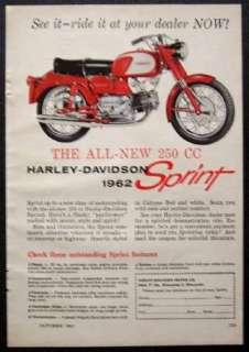 1962 Harley Davidson 250cc Sprint vintage Motorcycle AD