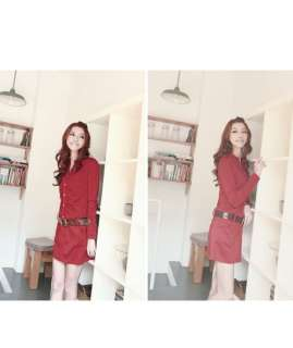 Office Ladies Slim Belted Shirt Dress, 7003L, RED, sz L