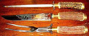 SET 3~Elegant 1950s SOLINGEN GERMANY STAG HANDLED CARVING SET~Vintage