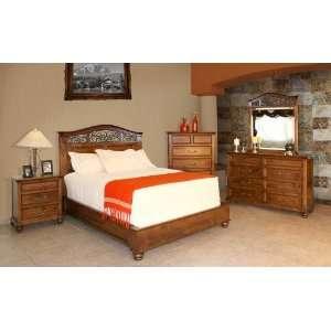 Pine Wood Bedroom Set W Wrought Iron Queen Bed Artisan Wooden