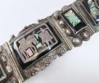 BIG CHUNKY VINTAGE MEXICAN STERLING SILVER ABALONE INLAY BRACELET