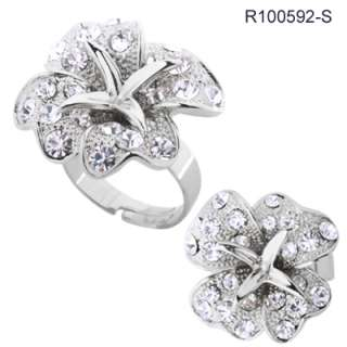 Bloomed Flower Rhinestone Cocktail Ring Size 6 7 8 or 9