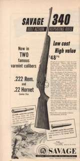 1953 Savage Model 340 Rifle Vintage 50s Gun Print Rare Ad ;
