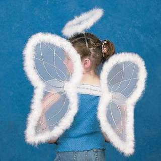 19 White Marabou Feather Angel Wings And Halo Costume 887600048201