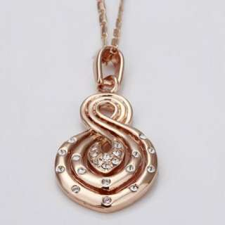 18K rose Gold plated white gem Swarovski beautiful charm necklace N26