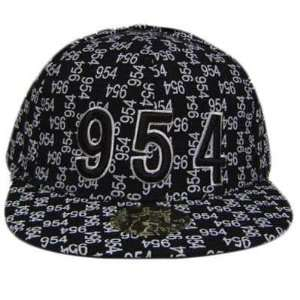 BROWARD 954 BLACK WHITE FLAT BILL FITTED CAP HAT LARGE