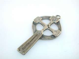 Vintage IRISH CELTIC CROSS STERLING SILVER PENDANT