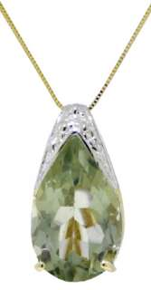Natural Green Amethyst Gemstone Solitaire Pendant Chain Necklace 14K