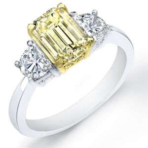 40 Ct. Canary Emerald Cut Diamond Engagement Ring
