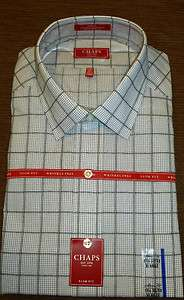 Fit Gray CHAPS Plaids Dress Shirt   Wrinkle Free   MSRP $45.00