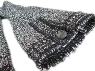 Authentic CHANEL Black & White Tweed Jacket w/ Rhinestones & Studs  36