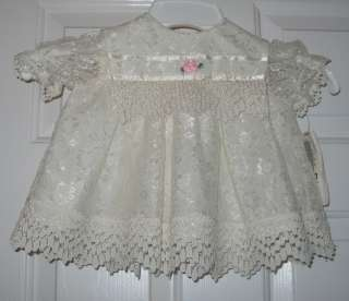 NWT INFANT GIRLS IVORY LACE / BAPTISM DRESS SIZE 6 MO