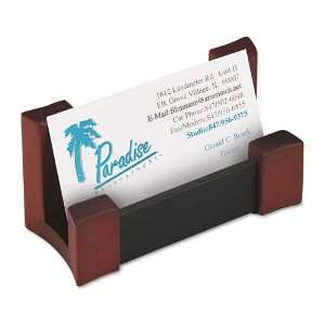 Wood/Leather Business Card Holder, Capacity 50 2 1/4 x 4 Cards