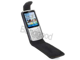 New BLACK FLIP LEATHER CASE POUCH COVER for NOKIA C3 01
