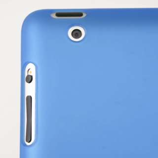 Rubberized Blue Back Snap On Hard Case Cover for iPad2 work with Smart