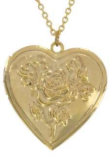 Gold PL Rose Heart Photo Locket Pendant Necklace