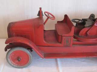 1920 s BUDDY L FIRE TRUCK AERIAL LADDER PRESSED STEEL ALL ORIGINAL