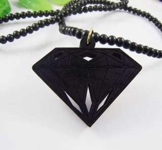 Vogue Wooden Fake Diamond Shape Pendant Good Wood Beads Necklace Chain