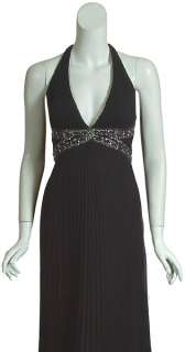 SUE WONG NOCTURNE Long Pleated Beaded Gown Dress 4 NEW