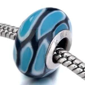 Black Lines Blue Block Pattern Murano Glass Beads Fits Pandora Charm